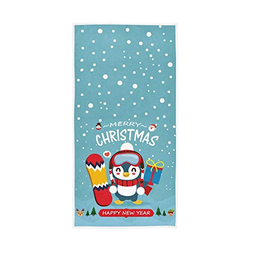 Oreayn Christmas Penguin Hand Towel for Bathroom Kitchen Polyester and Cotton 30 x 15 inch Soft and Absorbent, Penguin with Snowman Reindeer Santa Claus Elf