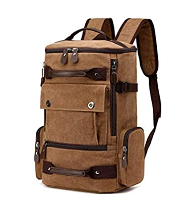 T.D.Well Duffel Backpack Canvas Backpack Travel Weekender Overnight Bag Backpack Vintage Durable Backpack Daypack Bag Rucksack Laptop Bag Water Resistant Brown For Men and Women