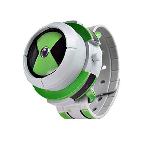 NaiCasy Reloj proyector de Juguete niños Reloj del proyector de Dibujos Animados patrón Digital Acción Relojes Figuras imágenes de Estilo Juguete de Regalo Verde