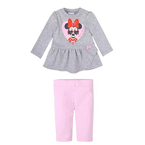 Disney baby meisjes Minnie Mouse Set: T-shirt, shirt met lange mouwen, leggings, lichtgrijs gemêleerd