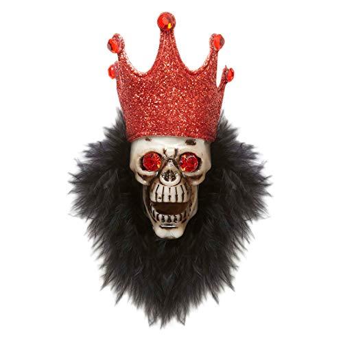 Amakando Broche crâne vaudou Zombie Magicien Bijou Gothique tête de Mort Badge démon Sorcier soirée Accessoire déguisement Halloween