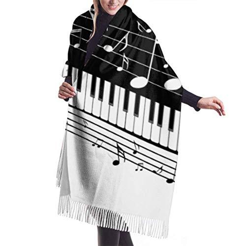 Yaxinduobao Bufanda de invierno para mujer Cashmere Feel Piano Keys Notas musicales Bufandas Chal con estilo Abrigos Manta suave y cálida Bufandas para mujeres
