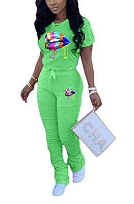 Womens 2pcs Multicolor Lips Printed Short Sleeve Sweater Top Shirts Ruched Bodycon Stacked Pencil Pants Trousers Set Sweatsuits Jumpsuits Jogger Yoga Active Tracksuits Green XXL