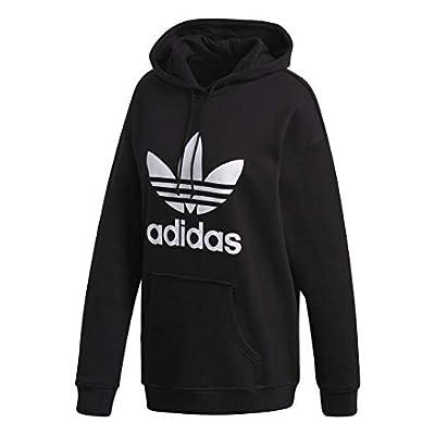 adidas Originals womens Adicolor Trefoil Hoodie Black/White X-Small
