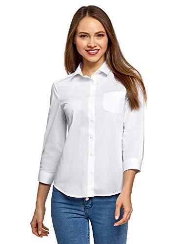 oodji Ultra Damen Hemdbluse mit Brusttasche und 3/4-Arm, Weiß, DE 36 / EU 38 / S