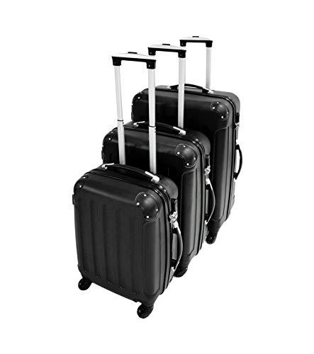 Leogreen - Set Di Valigie, Borse Trolley, 51 61 71 cm, Nero, Angoli protettivi, ABS, Materiale: Plastica ABS, Peso: 3 kg (piccoli) 3,5 kg (medio) 4,5 kg (grande)