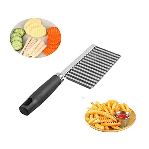 Hungry Hippo Crinkle Cutter For Fruit, Vegetables, Cheese, Potatoes - Serrated Wavy Chopper Slicer Knife - Vegetable Cutter - Potato Cutter - Waffle Fry Cutter - Veggie Cutter - Stainless Steel