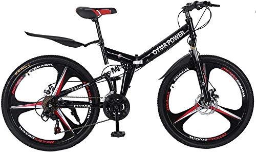 26In Folding Mountain Bike 21 Speed Full Suspension Non-Slip MTB Bikes Gears 6 Spoke Double Disc Brake Bicycleikes