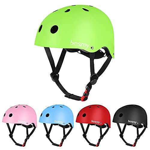 besrey Fahrradhelm Kinder Helmet Kinderhelm CE-Zertifizierung Helm für 3-5 Jahren alt Kinder Junge für Sport wie Fahrrad Scooter Roller Inlineskaten Skateboard -Grün