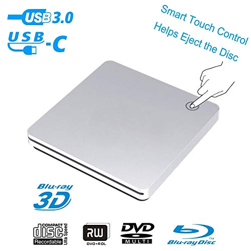 External 3D Blu Ray DVD Drive,USB 3.0 and Type-C Blu Ray DVD Burner Ultra Slim Smart Touch Slot-in BD CD DVD RW Burner Player Writer Compatible with Laptop Desktop MacBook Windows 7 8 10 Mac OS-Silver