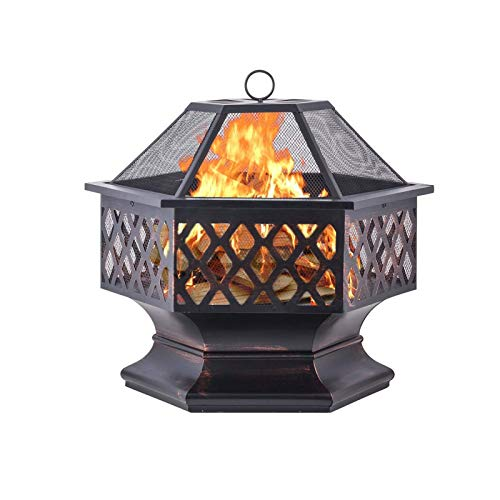 Outdoor Fire Pit with Cooking Grate Heavy Duty Fire Pits Outdoor Wood Burning Steel BBQ Grill Firepit Bowl with Spark Screen Cover Log Grate Fire Poker for Backyard Bonfire Patio