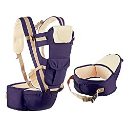 NHR Adjustable Hands Free 4 in 1 Baby Carrier With Safety Belt and Buckles(0 to 3 Years, Navy Blue),NHR