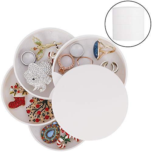 hugttt 4 lagen juwelendoos 360 graden roterende sieraden Organizer Sieraden Opbergdoos voor Meisjes Vrouwen Reizen, Draagbare Opbergtas voor Kettingen Armbanden Ringen Oorbel