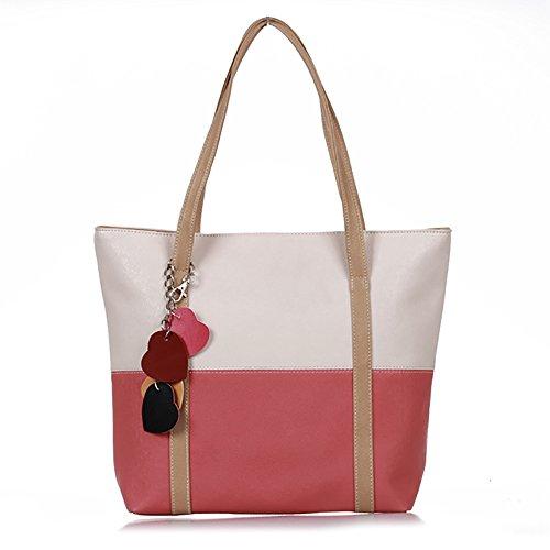 fitTek Donna Borsa Handbag a Spalla Righe in PU Cuoio Beige Rosso con Ciondolo Cuore