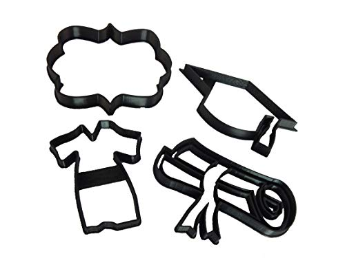 Graduation Hat, Gown, Diploma and Plaque Cookie Cutters (4 Pack)