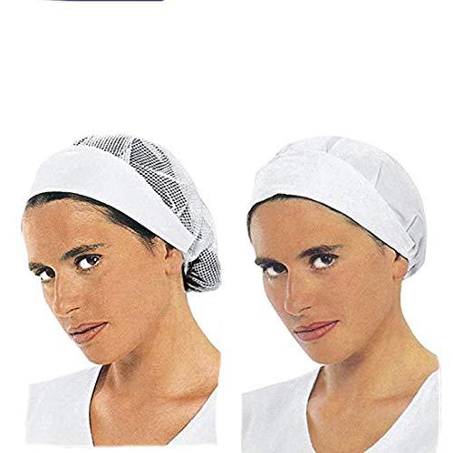 Cuffia bianca da lavoro cappello donna Misura unica in cotone (cuffia senza rete)