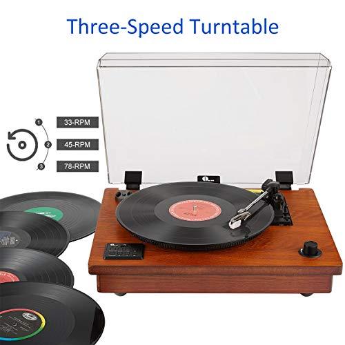Tourne Disque 1 BY ONE Platine Vinyle Haut Parleurs Stéréo Intégrés avec Trois Vitesses, Plug...