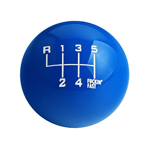 Dewhel White/Black Fing Fast Shift Knob for 6 Speed Short Throw Shifter 12X1.25 10X1.5 10X1.25 8X1.25 (Blue)