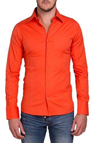 Redbridge Herren Langarm Hemd Business Anzug Freizeit Hochzeit Basic Standard Slim Fit Orange L