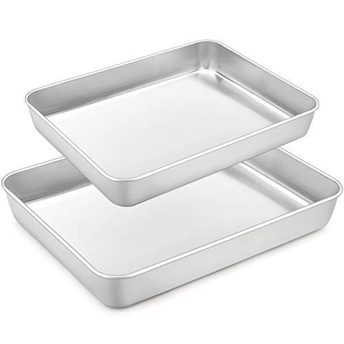 """TeamFar Lasagna Pan Set of 2, 12⅖"""" & 10½"""", Rectangular Cake Pan Deep Baking Sheet Pans Stainless Steel for Lasagna Cake Brownie, Healthy & Heavy Duty, Sturdy & Dishwasher Safe"""