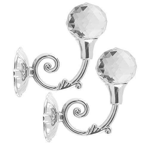 Andux 1 Paar Vorhang Raffhalter Kristall Vorhanghalter Gardinenhaken Kleiderhaken Vorhanghalter Wandhaken CLQG-02 (Silber)