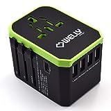 Welly Enjoy IT WY13105 - Adaptador de Viaje Universal con enchufes de la UE, Reino Unido, EE. UU., 4 Puertos USB y 1 Puerto Tipo C