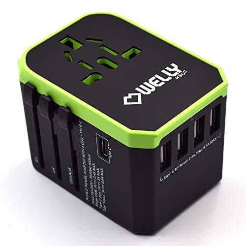 Welly Enjoy IT Adattatore Universale da Viaggio con Spine EU, UK, US, AU, 4 Porte USB e 1 Porta Type-C