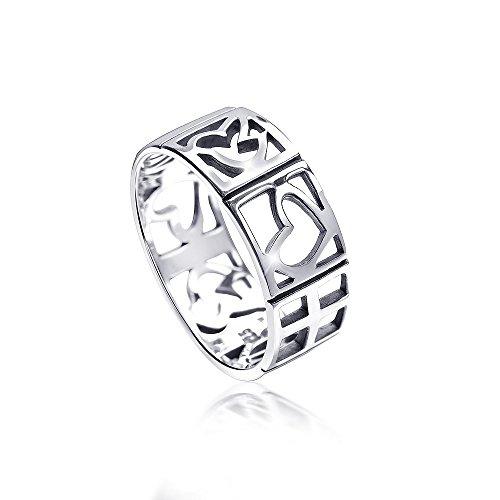 MATERIA Damen Ring Liebe Freiheit Frieden 925 Silber antik deutsche Fertigung #SR-122, Ringgrößen:54 (17.2 mm Ø)