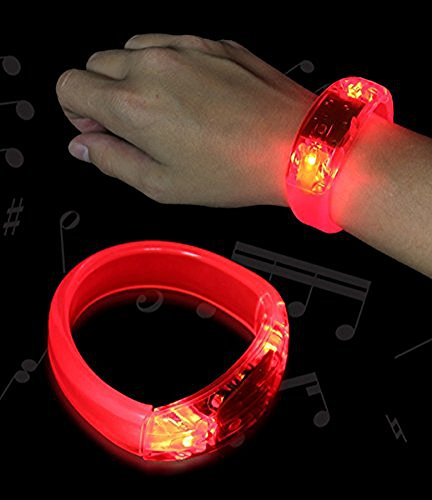 12 PC Red LED Sound Activated Bangle Bracelets Wristbands
