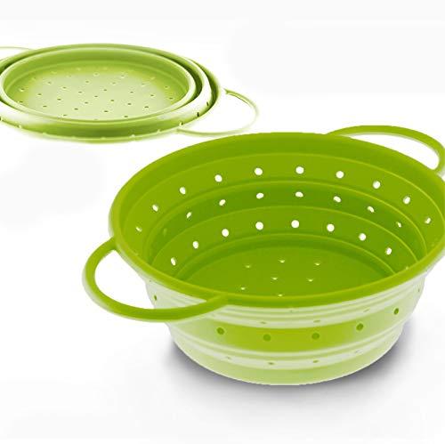 Coolinato Sieb faltbar aus Silikon | Platzsparend, leicht zu reinigen und Spülmaschinenfest | Verwendet als Nudelsieb, Abtropfsieb, Dampfgar Einsatz oder Küchensieb | Grün 16 cm