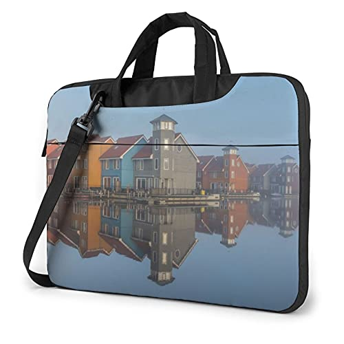 Laptop Sleeve Bag House Building Mist Water Tablet Briefcase Ultraportable Protective Canvas for 14 inch MacBook Pro/MacBook Air/Notebook Computer