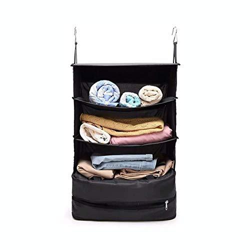 Siunwdiy Multifunction Luggage Suitcase Organizer Packing Cube Organizer Three Layer Oxford Cloth Packable Hanging Travel Shelves,Black