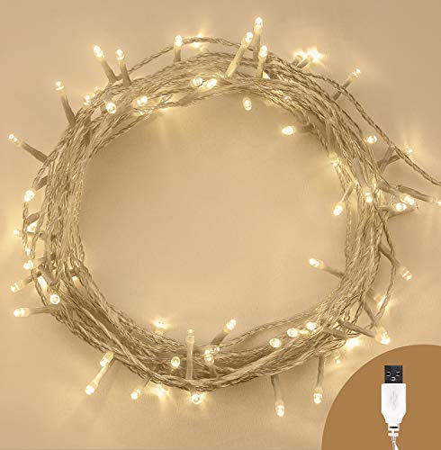Lichterkette USB 100 LED Warm Weiß Innen Weihnachtslichterketten Dauerlicht Ein/Aus Stromversorgung über USB 10m / 32ft Lit Länge mit 1m / 3ft Anschlusskabel klares Kabel