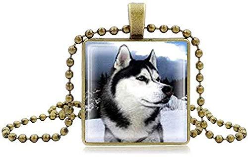 BACKZY MXJP Collar De Husky Siberiano, Reloj, Tiempo, Gema, Piedra, Huskies, Colgante,...