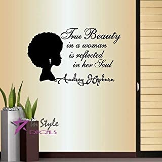 Wall Vinyl Decal Home Decor Sticker True Beauty in Woman Reflected in Her Soul A. Hepburn Quote Phrase Beautiful African Woman Style Fashion Hair Salon Shop Room Removable Mural Unique Design 903