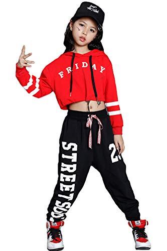 Hip Hop Dance Kleidung Kinder, Mädchen Hoodie Kapuzenpulli Sweatshirt Hose, Trainingsanzug