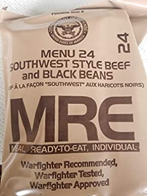 LoJo Surplus 2021 Genuine Military MRE Meals Ready to Eat with Inspection Date 2021 or Newer (Southwest Style Beef and Black Beans)
