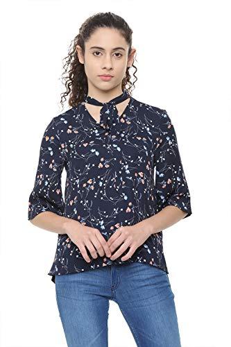 Allen Solly Women's Floral Regular fit Top (AHCTMRGP900174_Navy Medium)