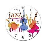AEMAPE Reloj de Pared Redondo con decoración de música de Jazz, Equipo de Jazz sobre Fondo Liso, Banda de música, Arte gráfico Moderno, impresión múltiple
