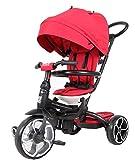 QPlay Prime 6 en 1 reclinable y 360 ° giratorio asiento de niño Trike/Triciclo con toldo y barra de empuje ? Rojo