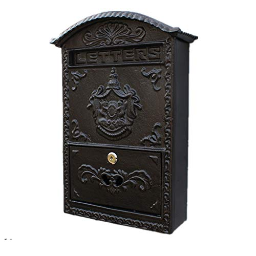AOWU Classic Wall Mounted Letterbox Wall-mounted Cast Iron Letter Box European-style Mailbox Courtyard Home Decor Home Office Safe Outdoor (Color : As Shown, Size : 27.5x10.2x40cm)