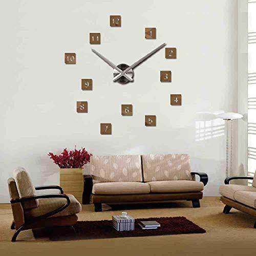 WDQTDY Hot Koop Stickers Wandklok Horloge DIY Acryl Spiegel Grote Huisdecoratie Quartz Woonkamer Circulaire Naald Chocolade