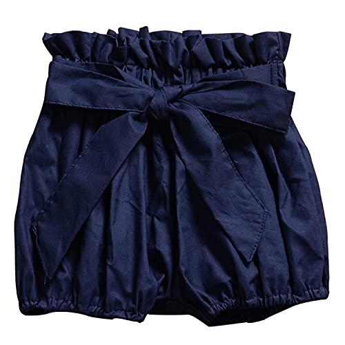 Toddler Baby Girls Boys Ruffles Shorts Cute Plaid Dot Floral Print Shorts Cotton Linen Bow Bloomers Loose Harem Shorts (A Royal Blue,2-3 Years)