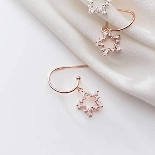 TYERY S925 Plata Moda Coreana Literaria Llena de Diamantes Estrella Ganchos para la Oreja Temperamento Dama en Forma de c Pendientes Simples,rosa de oro, Plata 925