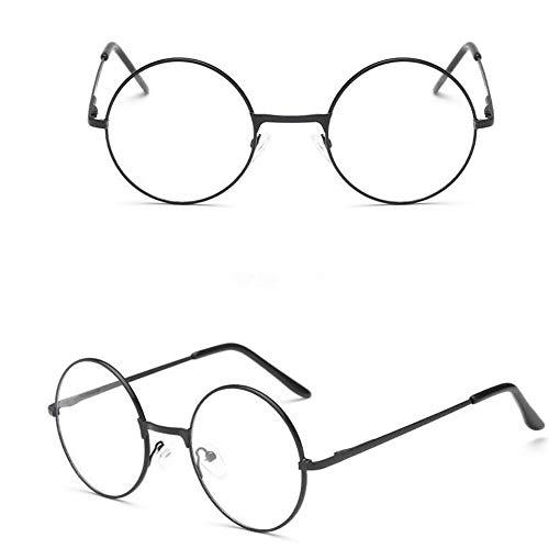 Ned Flanders - Gafas de lentes transparentes de 50 mm de grosor, color negro, redondas, estilo vintage, lentes transparentes