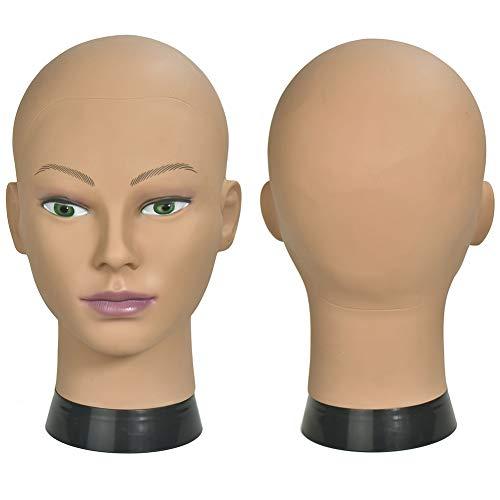 ErSiMan Weibliches Mannequin für Kosmetikerausbildung, Kopf ohne Haare, Mannequin-Kopf für Perücken-Herstellung, Hut-/Brillen-Präsentation, Friseur-Übungskopf, Puppenkopf mit Klemme, 12-A
