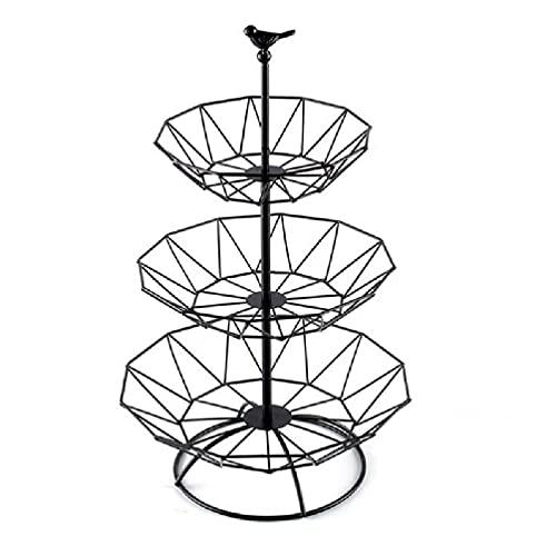 Mengmengda 3 niveles de cestas de frutas de alambre de metal tazón de frutas aperitivos pastel soporte de almacenamiento estante de encimera organizador mesa decoración del hogar Metal alambre Frutero