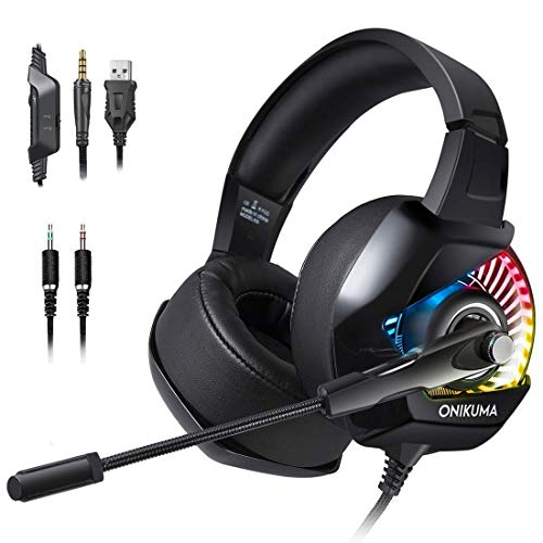 K6 RGB 7.1 Gaming Headset, Noise Cancelling Over Ear Gaming Headphones with Mic, Compatible with Ps4, Xbox One, Nintendo Switch, Pc, Mac, Laptop