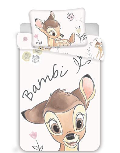Bambi Parure de lit Bébé 100% Coton - Housse de Couette 100x135 cm + Taie d'Oreiller 40x60 cm