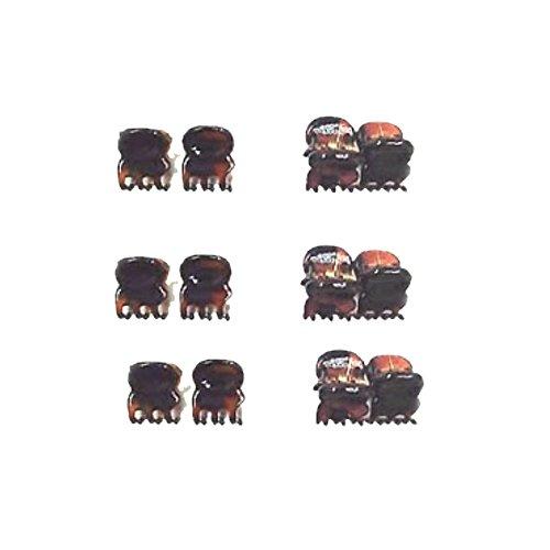 12 minis pinces cheveux plastique 1cm - marron